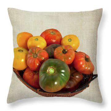 Throw Pillow featuring the photograph Tomatoes In A Basket Wide by Dan Carmichael