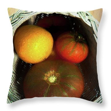 Throw Pillow featuring the painting Tomatoes In A Horn Of Plenty Basket 2 Ap by Dan Carmichael