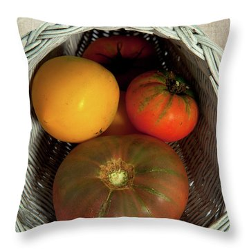 Throw Pillow featuring the photograph Tomatoes In A Horn Of Plenty Basket 2 by Dan Carmichael