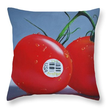 Tomatoes With Sticker Throw Pillow