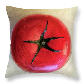 Throw Pillow featuring the digital art Tomato by Lois Bryan