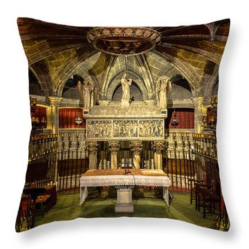 Tomb Of Saint Eulalia In The Crypt Of Barcelona Cathedral Throw Pillow