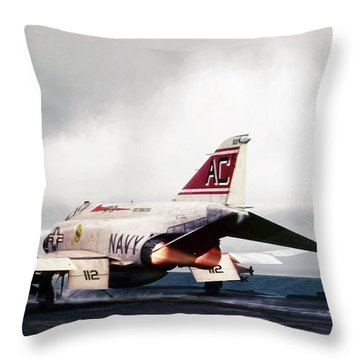Throw Pillow featuring the digital art Tomcatter Launch by Peter Chilelli