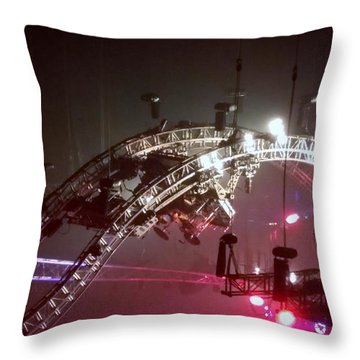 Tommy Lee Motley Crue Farewell Tour Brooklyn N Y 2015 Or Flying Drums Throw Pillow