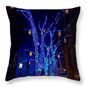 Tommy's Park, Portland, Maine,, Christmas 2015 Throw Pillow by Patricia E Sundik