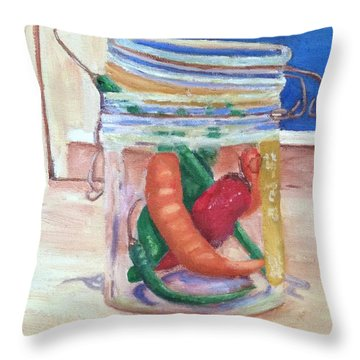 Throw Pillow featuring the painting Tommy's Peppers by Patricia Cleasby