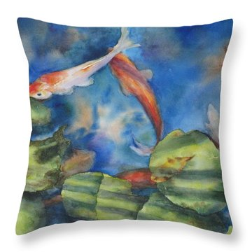 Throw Pillow featuring the painting Tom's Pond by Mary McCullah
