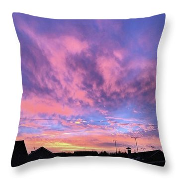Tonight's Sunset Over Tesco :) #view Throw Pillow