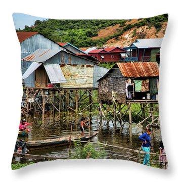 Tonle Sap Boat Village Cambodia Throw Pillow
