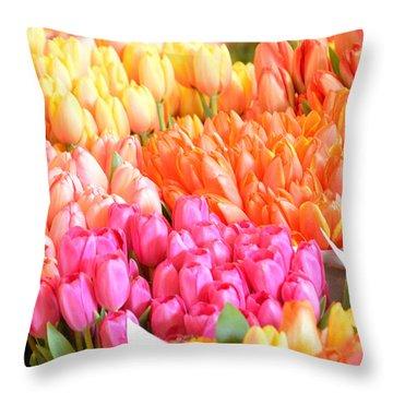 Tons Of Tulips Throw Pillow