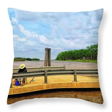 Too Hot To Fish Throw Pillow