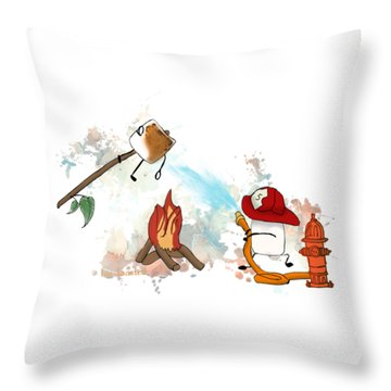 Throw Pillow featuring the digital art Too Toasted Illustrated by Heather Applegate