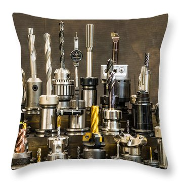 Toolmakers Cutting Tools Throw Pillow by Paul Freidlund