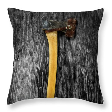 Throw Pillow featuring the photograph Tools On Wood 11 On Bw by YoPedro
