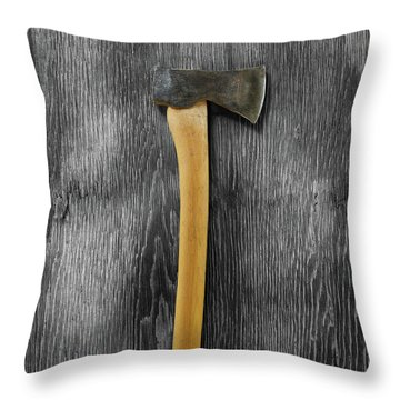 Tools On Wood 12 On Bw Throw Pillow by YoPedro