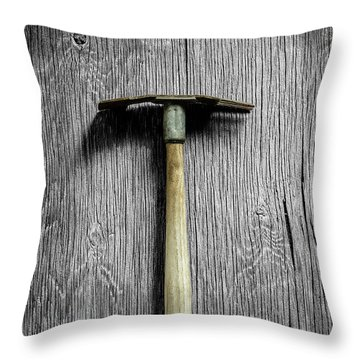 Tools On Wood 16 On Bw Throw Pillow by YoPedro