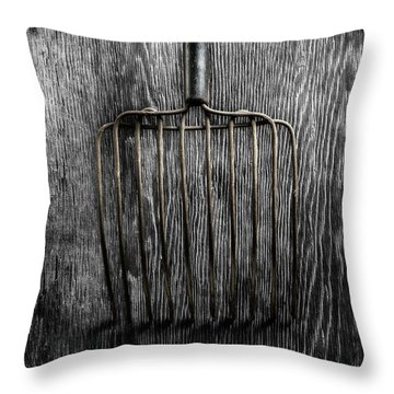 Tools On Wood 25 On Bw Throw Pillow by YoPedro
