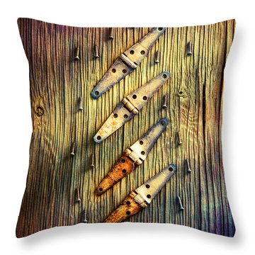 Tools On Wood 48 Throw Pillow by YoPedro
