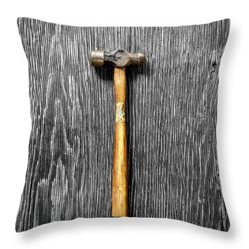 Throw Pillow featuring the photograph Tools On Wood 51 On Bw by YoPedro