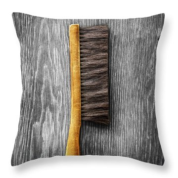 Tools On Wood 52 On Bw Throw Pillow by YoPedro