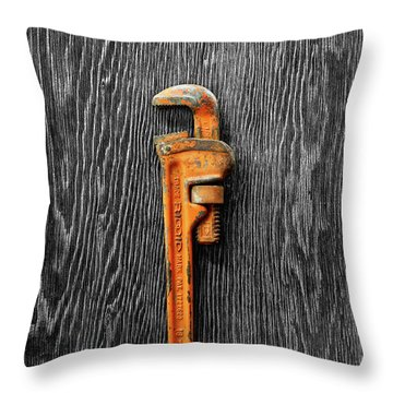 Tools On Wood 60 On Bw Throw Pillow by YoPedro