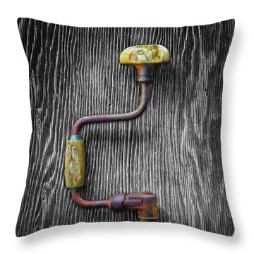 Tools On Wood 61 On Bw Throw Pillow by YoPedro