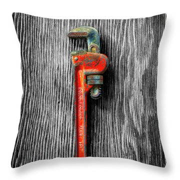 Tools On Wood 62 On Bw Throw Pillow by YoPedro