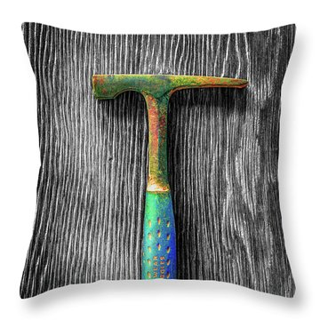 Tools On Wood 63 On Bw Throw Pillow by YoPedro