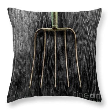 Tools On Wood 7 On Bw Throw Pillow by YoPedro