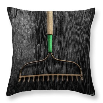 Tools On Wood 9 On Bw Throw Pillow by YoPedro