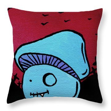 Toothed Zombie Mushroom Throw Pillow by Jera Sky