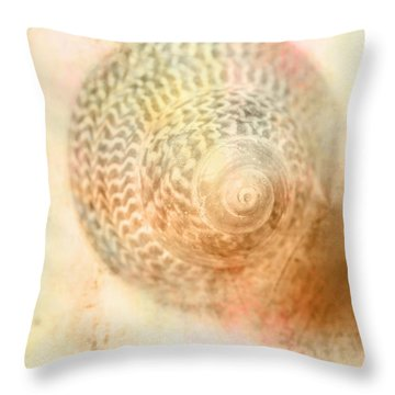 Top Down View Of Spiral Sea Shell Throw Pillow