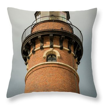 Throw Pillow featuring the photograph Top Of Little Sable Point Lighthouse by Adam Romanowicz