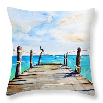 Top Of Old Pier On Playa Paraiso Throw Pillow
