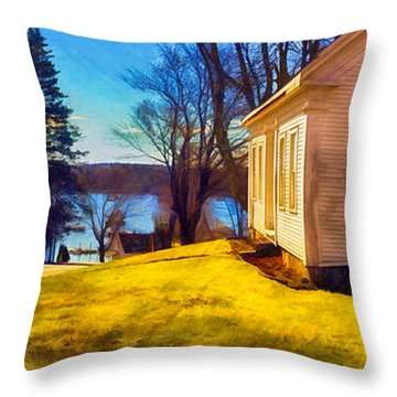 Top Of The Hill, Friendship, Maine Throw Pillow by Dave Higgins