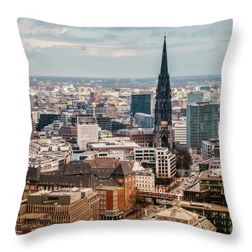 Top View Of Hamburg Throw Pillow
