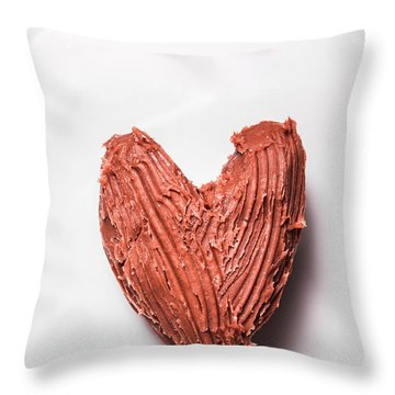 Top View Of Heart Shaped Chocolate Fudge Throw Pillow
