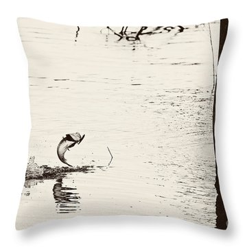 Top Water Explosion - Vintage Tone Throw Pillow