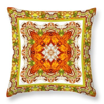 Topaz And Peridot Bling Kaleidoscope Throw Pillow