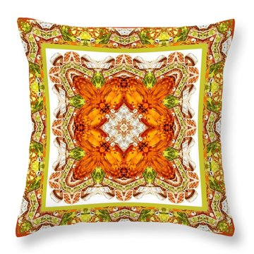Topaz And Peridot Bling Kaleidoscope Throw Pillow