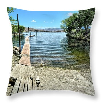 Topaz Landing Boat Launch Throw Pillow