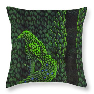 Throw Pillow featuring the drawing Topiary Peacock by Donna Huntriss