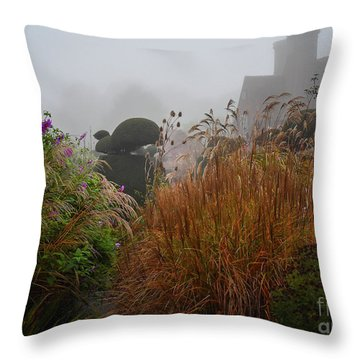 Topiary Peacocks In The Autumn Mist, Great Dixter 2 Throw Pillow