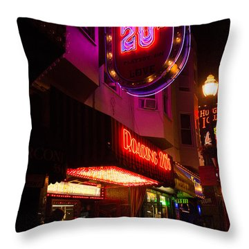 Throw Pillow featuring the photograph Topless Bar Signs At Night In North Beach San Francisco by Jason Rosette