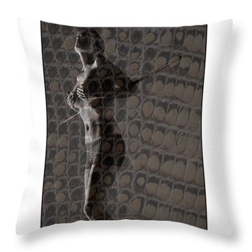 Topless Girl With African Spear Throw Pillow by Michael Edwards