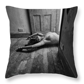 Topless Woman In Doorway Throw Pillow