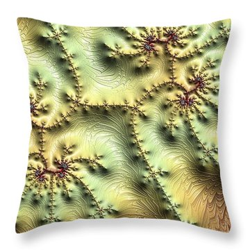 Topo Fractal Throw Pillow by Ron Bissett