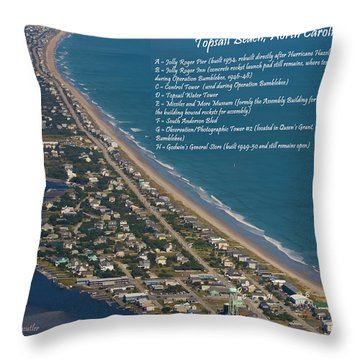 Topsail Beach Throw Pillow by Betsy Knapp