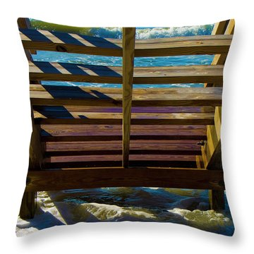 Topsail Island Ocean Steps Throw Pillow by Betsy Knapp