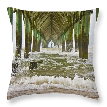 Topsail Island Pier Throw Pillow by Betsy Knapp